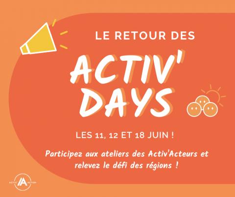 Activ'Days, les 11 - 12 et 18 juin 2021